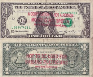 Stamped 1 dollar bill